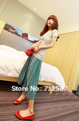 High-quality preppy style candy color pleated half length skirt #5177~free shipping