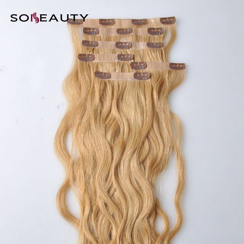 Natural PU Seamless Clip In Human Hair Extensions  Blonde 6 Pieces 120g Body Wave Machine Made Remy Hair(China)
