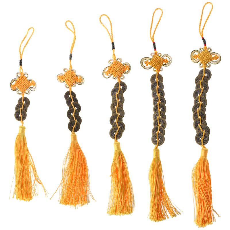 Chinese Knot Feng Shui Lucky Wealth 3/6/8/9/10 Coins For Home Car Hanging Tassel For Woodwind Flutes Yellow