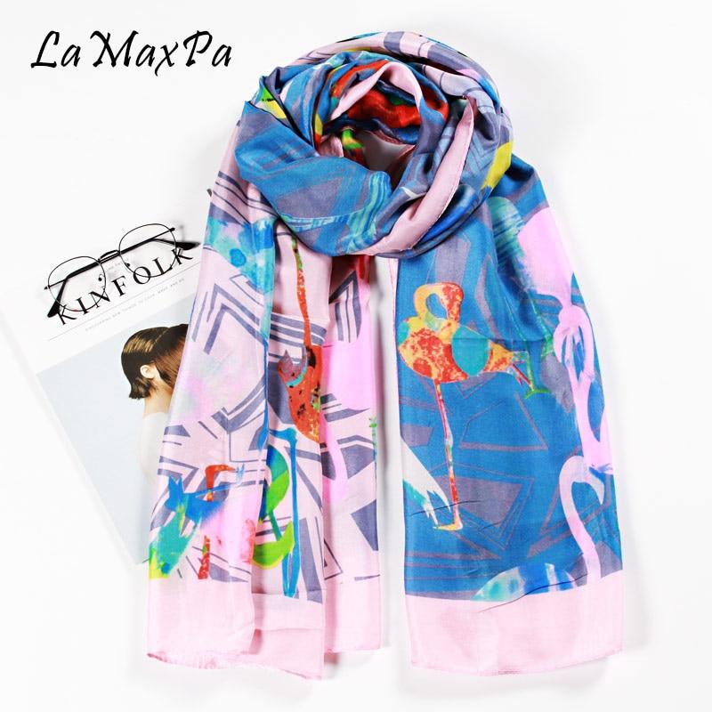 LaMaxPa 2018 Newest Women Scarf Flamingo Pattern Silk Shawl Femme Elegant Echarpe Lady Fashion Scarf Mujer Elegant Chal Bufanda