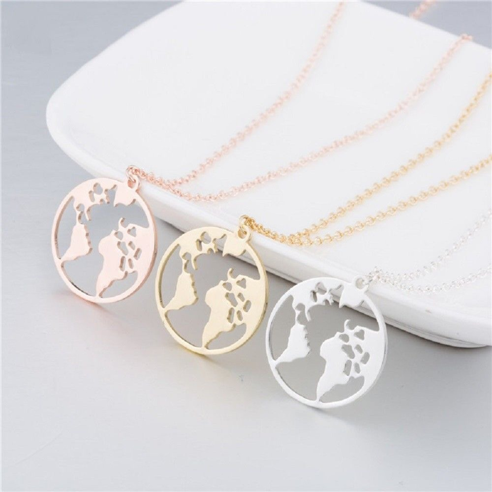 Pendant Necklace Globe Travel Jewelry Atlas Planet Earth World-Map Gift Men Chains Silver/rose-Gold title=