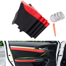цена на For Honda 10th Civic 2016 2017 2018 4pcs PU Leather Car Door Panel Surface Shell Cover Trim Decorative Car-styling Accessories
