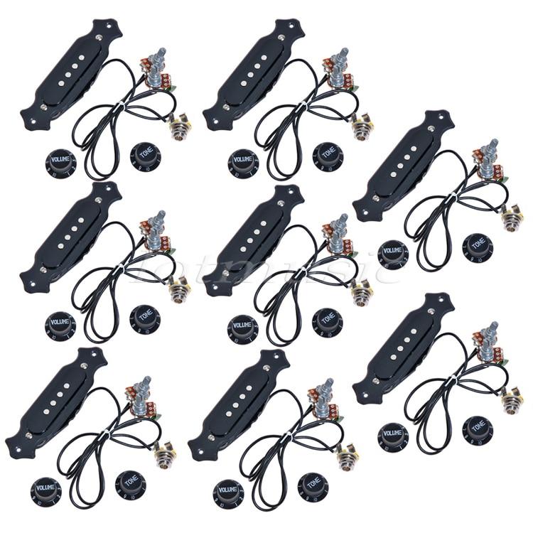 8 juegos de Pickup de guitarra eléctrica con perillas precableado para guitarra de caja de cigarros de 4 y 6 cuerdas