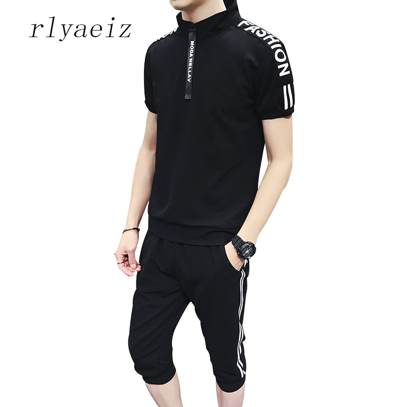Rlyaeiz Sporting Suit Men Casual Sets Men's Tracksuit 2018 Summer Striped T Shirts + Calf-length Pants Two Piece Sets Male