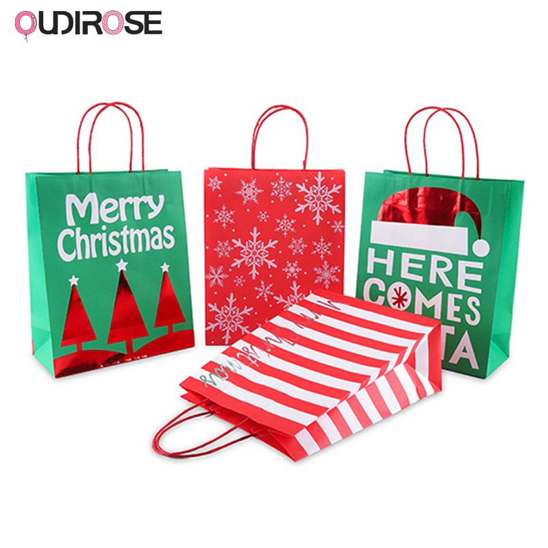 Latest Product  Christmas Paper Gift Bags Red Stripe Pattern Christmas Tree Packing Gift Bag navidad Party Wedding