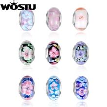 Silver Plated Flower Murano Glass Beads Fits Pandora Bracelet Bangles Charm