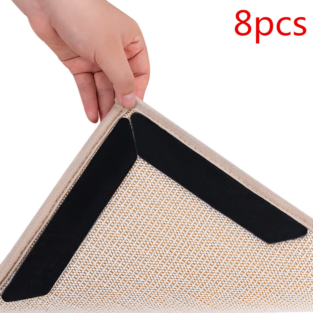 8PCS Reusable Washable Rug Grippers Carpet Mat Non Slip Anti Curling Grip Mat Pad For Home Living Room Bedroom