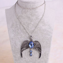 12pcs/lot Silver Zinc Alloy Necklace Harry Potter With A Crown Of Ravenclaw Lost Magic School Women Artificial Crystal Neckalce(China (Mainland))