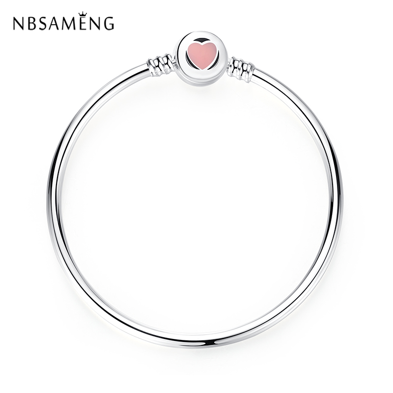 New Original Authentic 925 Sterling Silver Charm Bead Pink Heart You are so Loved Clasp Bracelets & Bangles For Pan DIY Jewelry