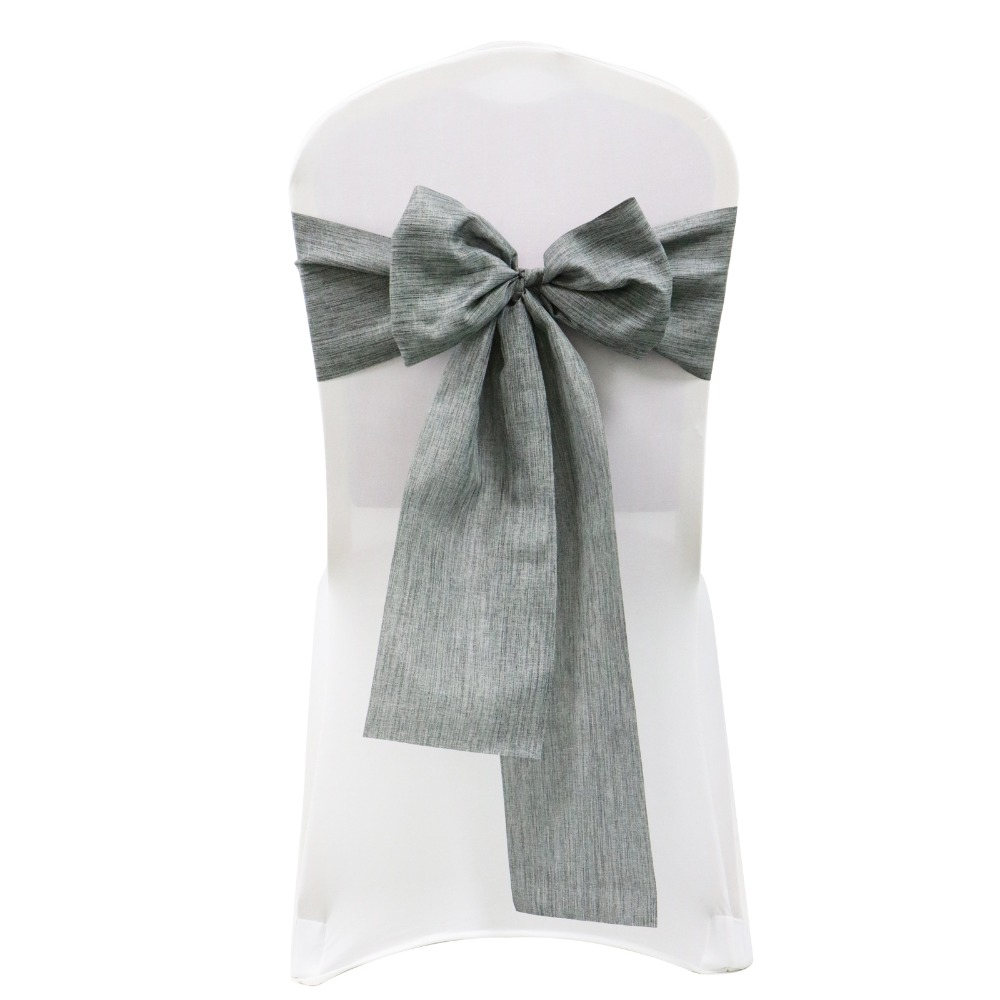 1pcs Imitated Linen Chair Sashes Wedding Chair Knot Decorations Modern Chairs Bow Cover Ties Banquet Party Home Chair Decor