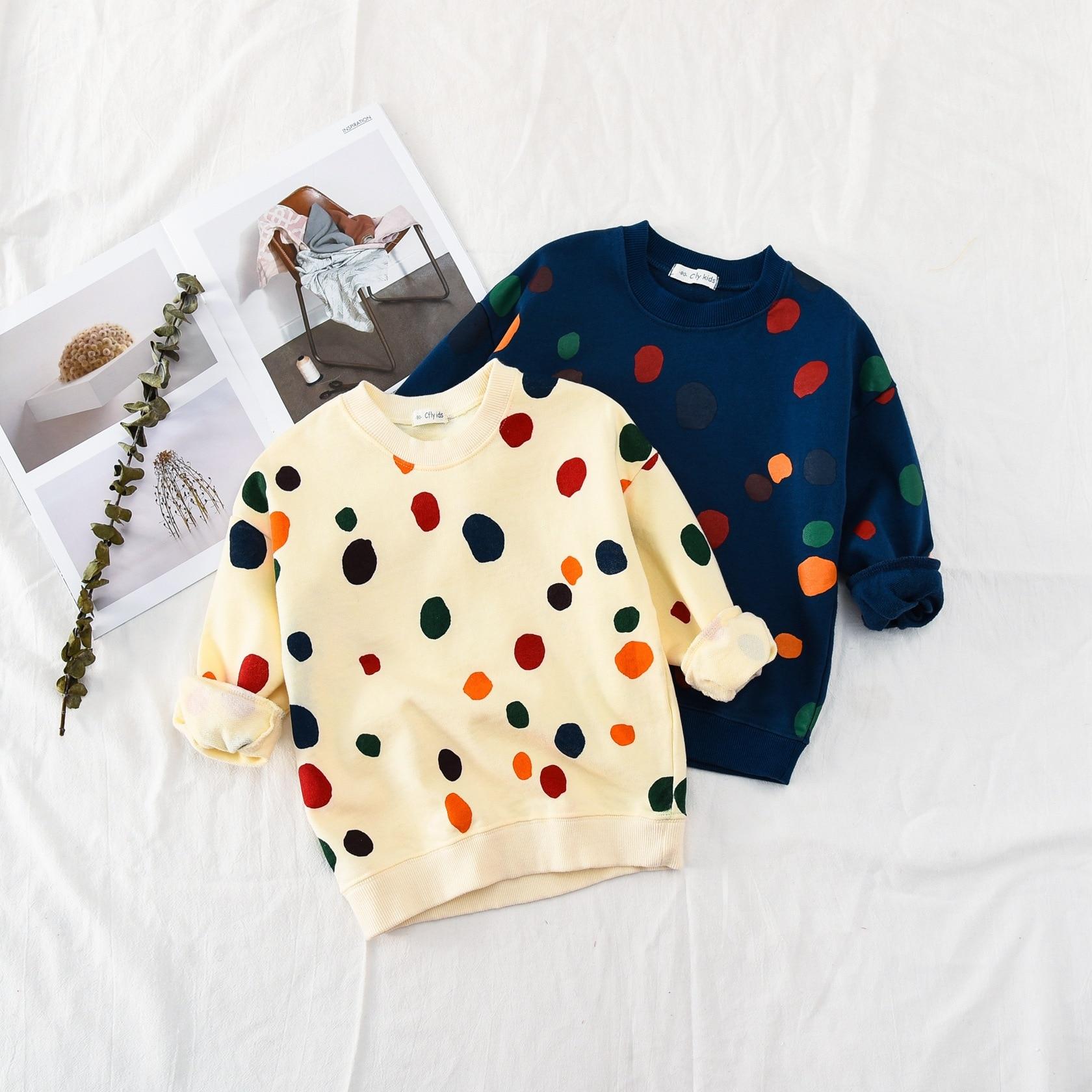 Neue 2018 Herbst Jungen Mädchen Outwear Kinder Lange Hülse Hoodies Bunte Polka Dot Baby Mädchen Hoodies Sweatshirt Kinder Kleidung