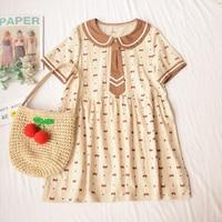 Summer Mori Girl Doll Collar Cute Bear Print Lolita Dress Japanese Sweet Princess Kawaii Soft Sister Short Sleeve Doll Dress