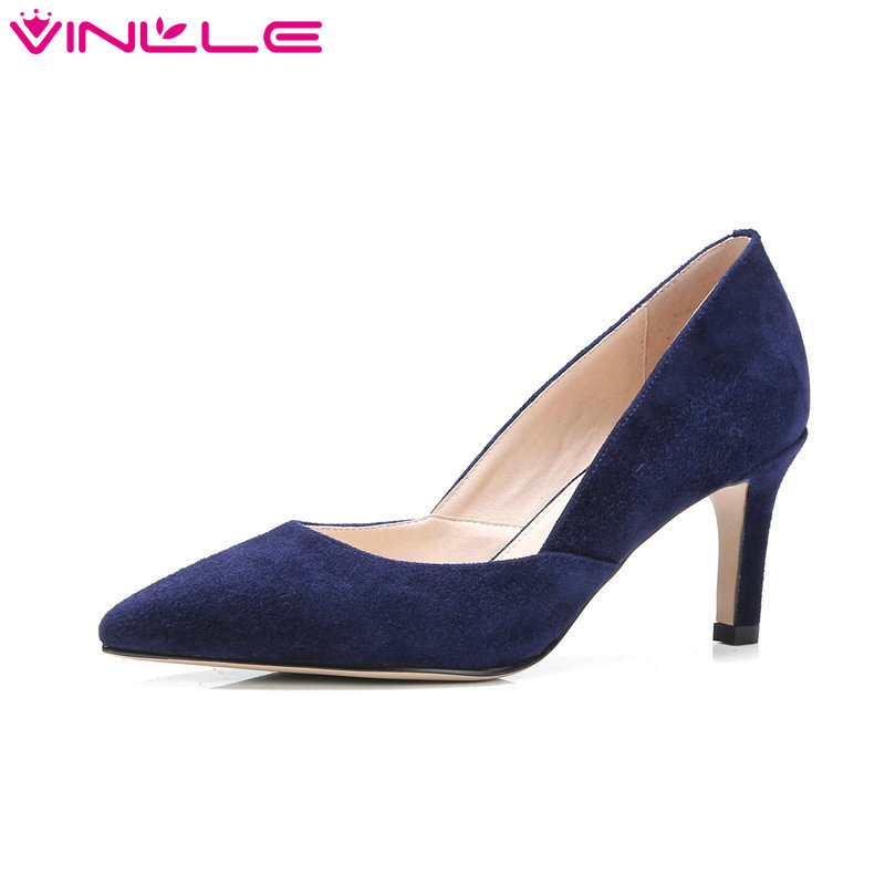 VINLLE 2017 Women Pumps High Heel Genuine Leather Two-Piece Stiletto Thin Heel Women Shoes Pointed Toe Wedding Shoes Size 34-39 esveva 2017 ankle strap high heel women pumps square heel pointed toe shoes woman wedding shoes genuine leather pumps size 34 39