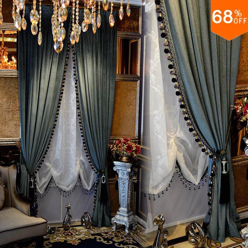 Occultant épais rideau en velours solide couleur Pure luxe pour chambre noir out luxueux draperie porte perle rideaux perlé rideau