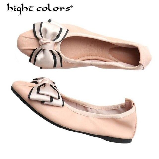 Marka damskie buty komfort szpiczasty nosek prawdziwej skóry baleriny składane balet mieszkania przenośne podróży mieszkania Slip-On mokasyny