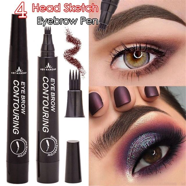 4 Fork Tip Fine Sketch Enhancer Eyebrow Tattoo Pen Waterproof