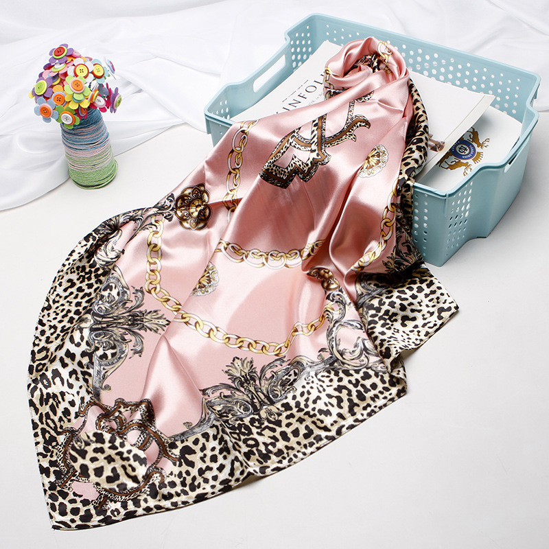 Fashion Shawl   Scarves   For Women Floral Print Silk Satin Hijab   Scarf   Female   Wraps   90*90cm Square Shawls Bandana Scarfs For Ladies