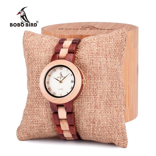 BOBO BIRD  Women Quartz Watches Fashion Brand Ladies Dress Wristwatch with Full Wooden Band in Gift Box relojes mujer clock