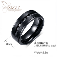Black Cz Zircon Ring Sets Wholesale Factory Oem Size 7 12 Finger Rings Jewelry Vintage Man