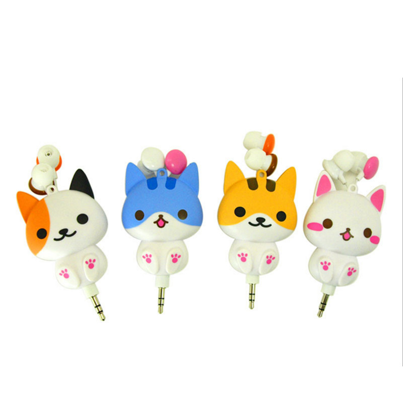 Cute Cat Dog Cartoon Earphone Headphones Decor Retractable With Cord Winder for Mobile Phone Xiaomi Mp3 Kids Girls Gifts long cable winder cute cartoon animal headphone earphone organizer wire holder action toy figures set