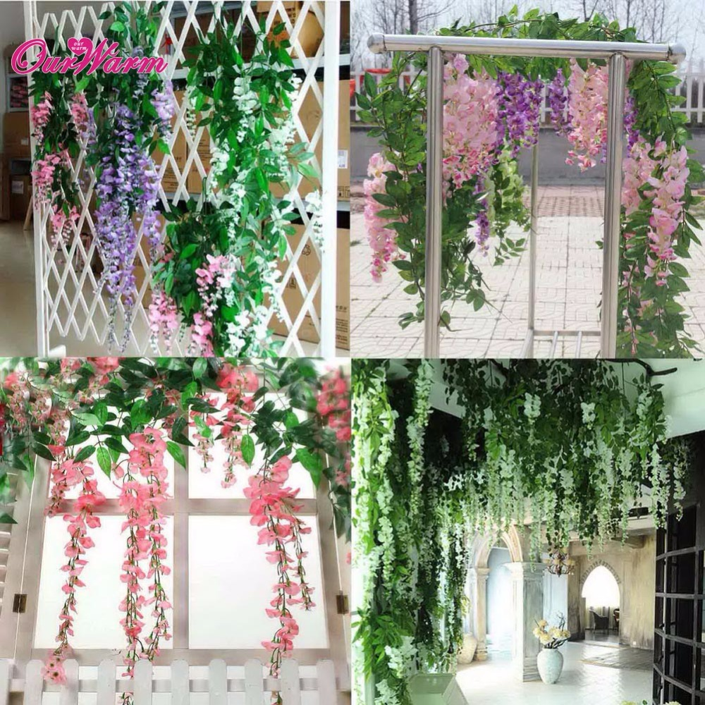 1 Piece Artificial Silk Wisteria Fake Garden Hanging Flower Plant Vine  Wedding Home Decoration Products Supply In Artificial U0026 Dried Flowers From  Home ...