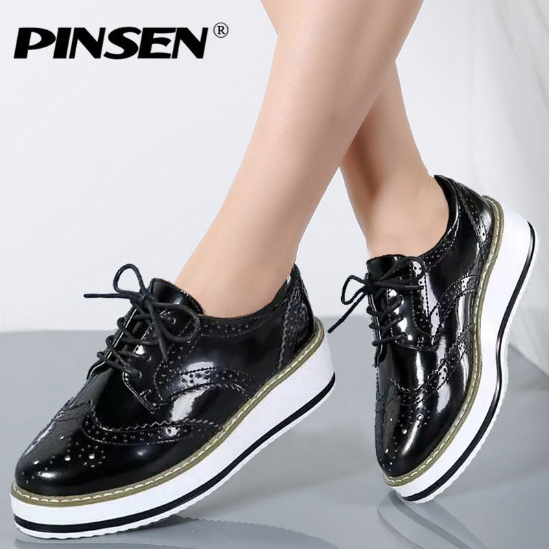 PINSEN Women Shoes New 2018 Platform Brogue Flats Leather Shoes Lace Up Brand Female Footwear Oxfords Shoes for Women Creepers women platform oxfords brogue flats shoes patent leather lace up pointed toe brand female footwear shoes for women creeper