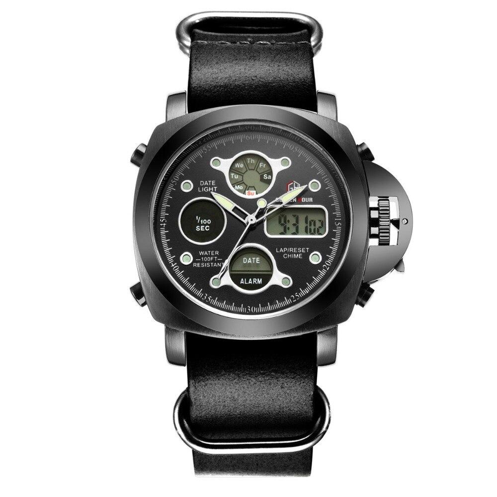 394e908bfb08 Hombres moda reloj caliente de lujo marca Shark estilo reloj correa de  cuero de los hombres Relojes deportivos con alta calidad a prueba de agua