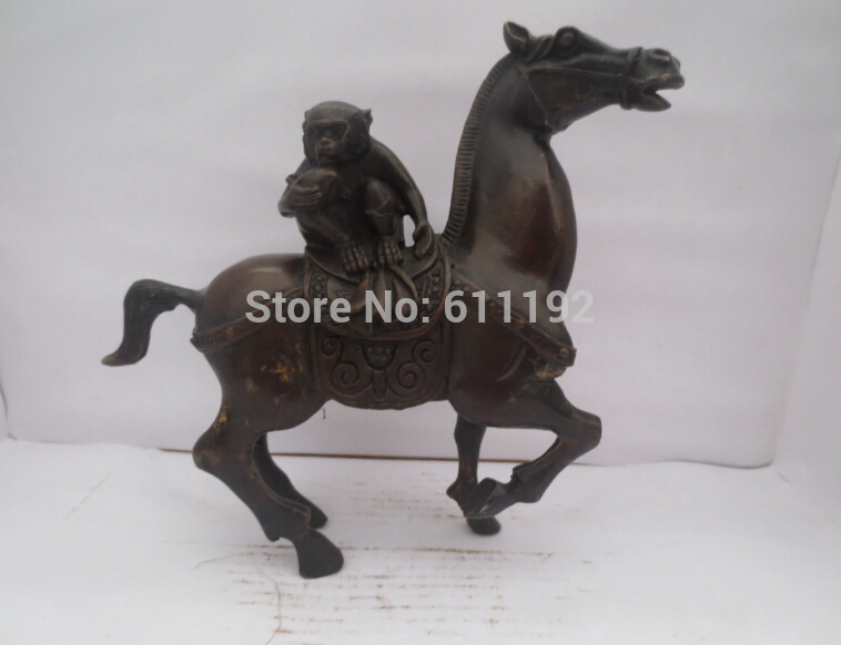 Free Shipping Asian Antique bronze animal statue Metal crafts,Hand carved Horse and monkey sculpture