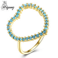 Classic Fashion Hollow Out Hoop Shimmering Delicate Turquoise Green Finger Ring Promise Jewelry Best Valentine S
