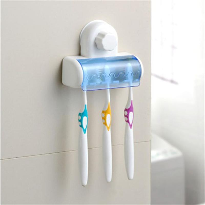 Portable 5-slot Dustproof Home Bathroom Toothbrush Spinbrush Suction Holder Stand Set image