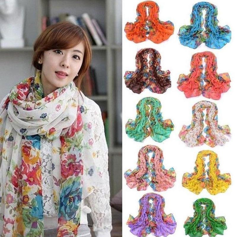 Summer Women Long Shawl Floral Chic Stole Scarves Soft Chiffon Scarf Wraps Stole 50*160cm NEW