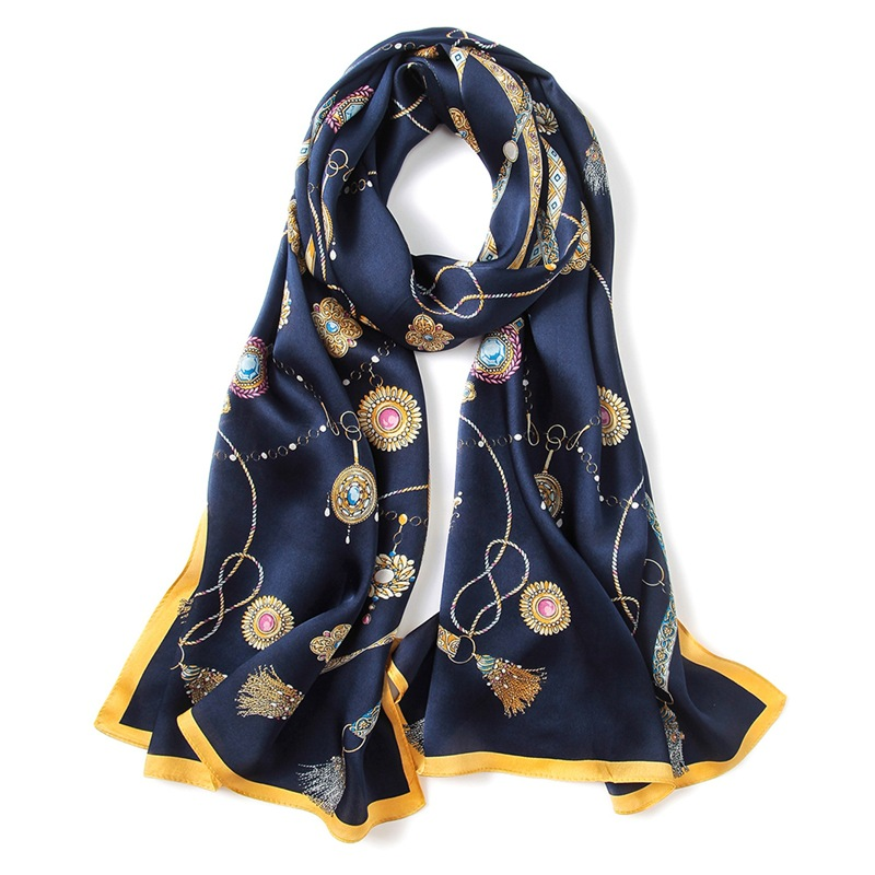 Fashion Printed Long Silk   Scarf   Women 100% Satin Silk   Scarves   &   Wraps   Shawl for Ladies Autumn Clothing Accessories