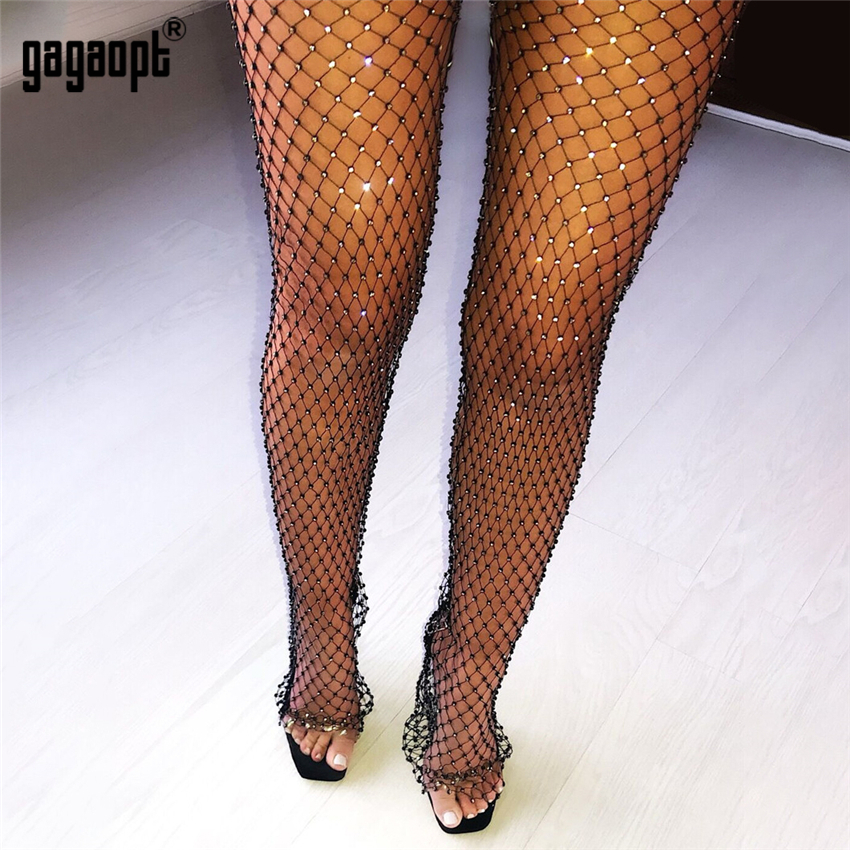 Gagaopt Crystal Rhinestones Diamonds Sexy Tunic Pants Women Long Bottoms Mesh Hollow Out Transparent Beach Club Party Trousers