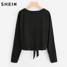 SHEIN Pearl Beaded Knot Front Cute Tee Shirt Black Casual T shirt for Women Long Sleeve Round Neck Women T-shirts