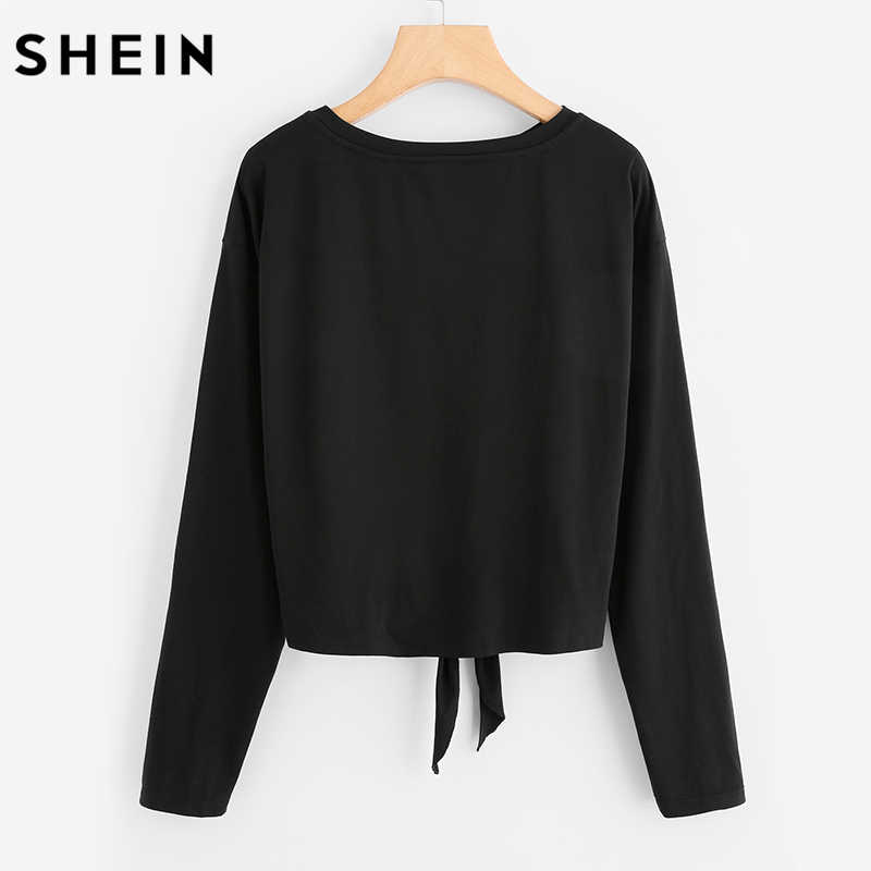 7053f960fe ... SHEIN Pearl Beaded Knot Front Cute Tee Shirt Black Casual T shirt for  Women Long Sleeve ...