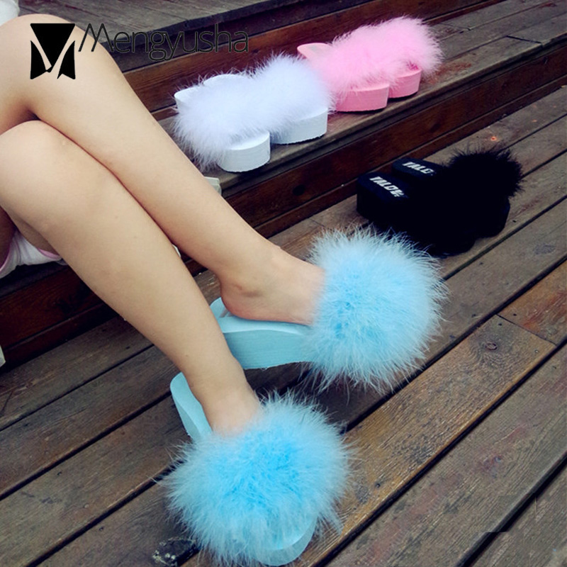 Shoes Sandals Platform Wedges Slides High-Heels Furry Slippers Flip-Flops Ostrich Summer