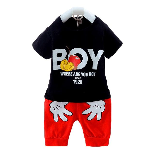 8ed91978e86 2018 Baby Boy Clothes Summer Cartoon Mickey Baby Boys Girl Clothing Set  Cotton Kids Clothes Suits Infant Children Clothes