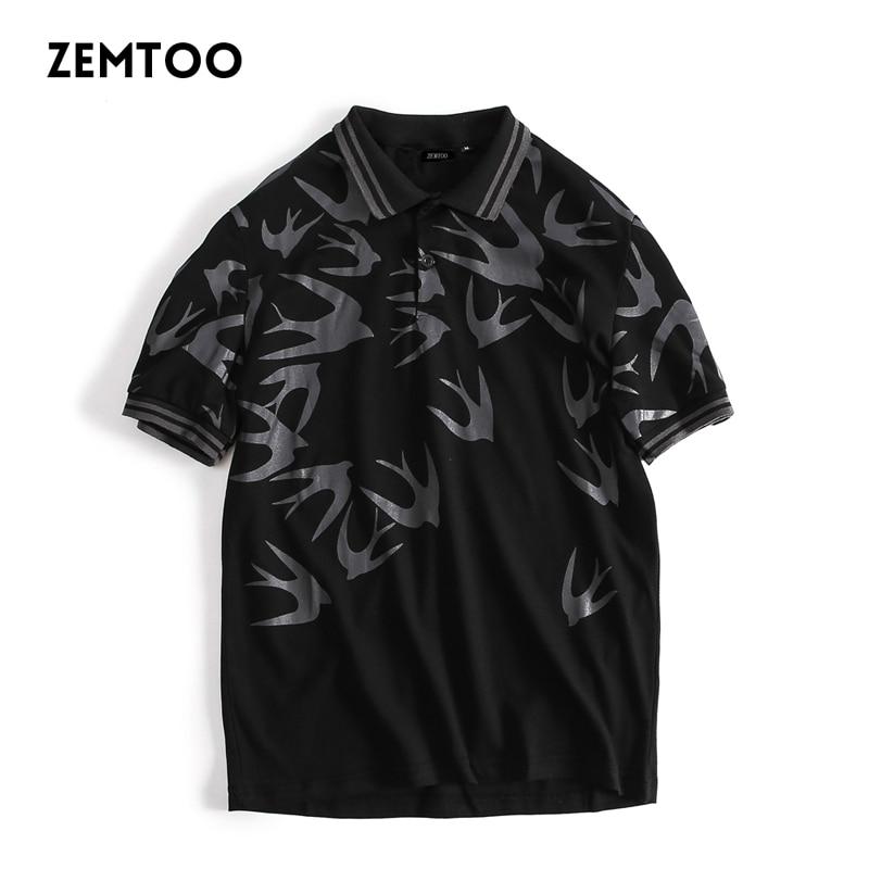 Brand clothing Men Polo Shirt Men Swallow Printing Casual Shirts male polo shirt Short Sleeve breathable camisa polo shirt B3970
