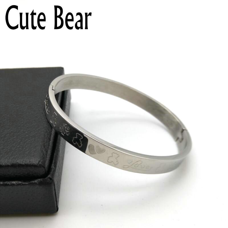 Cute Bear Brand Bangles Bracelet for Women Fashion Polishing Carving Animal Stainless Steel Cuff Bangles Women Bracelets Jewelry