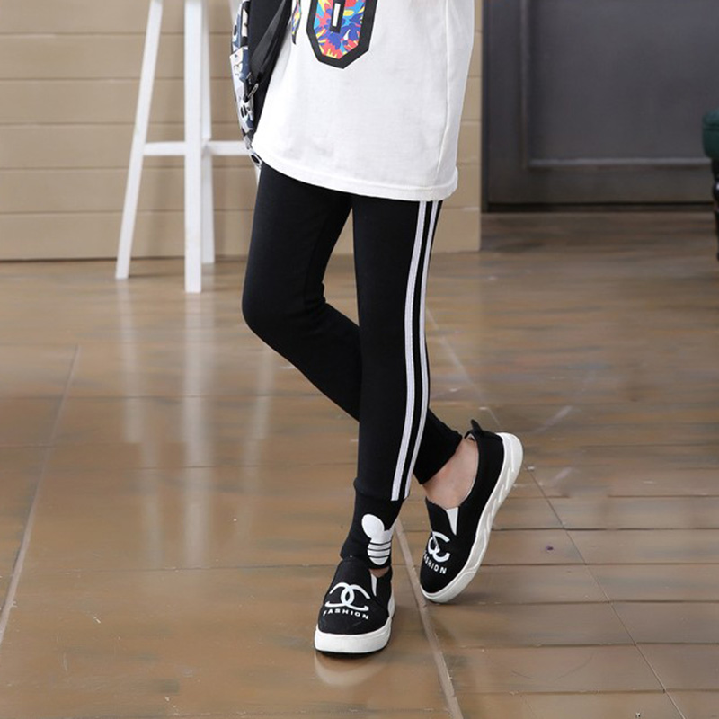 Spring Autumn Ladies Leggings Pants For Ladies Sport Leggings Aspect Stripe Kids Faculty Trousers Youngsters Clothes
