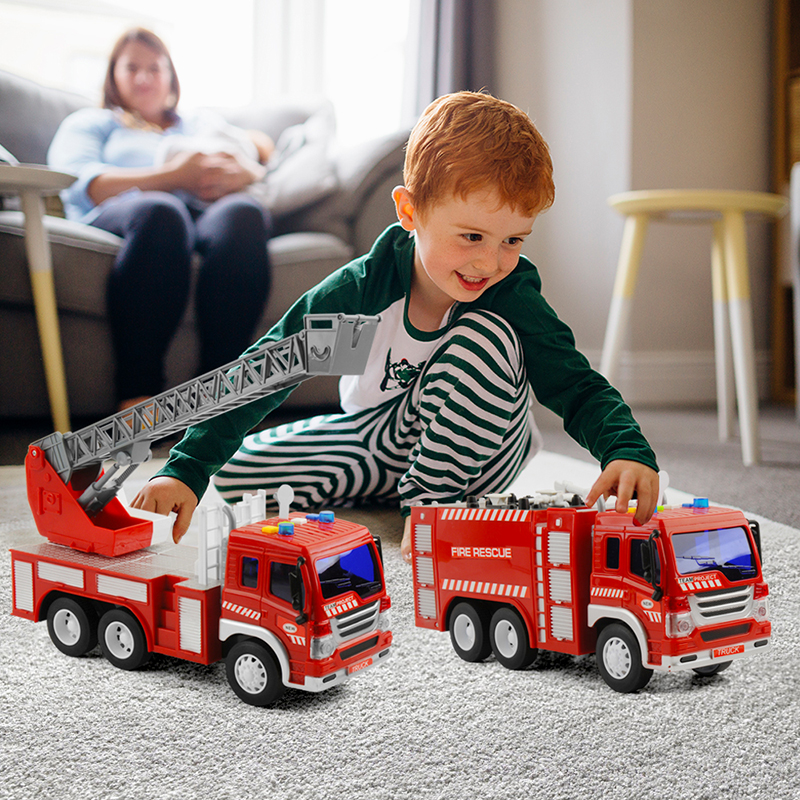 2 Pcs 1/16 Construction Vehicles Kids Engineering Car Toy Friction Powered Play With Music Dump Truck Model Classic Toys Gifs