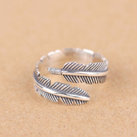 Authentic 925 Sterling Silver Ring Fashion Retro Feather Adjustable Open Rings For Women Party Wedding Ring