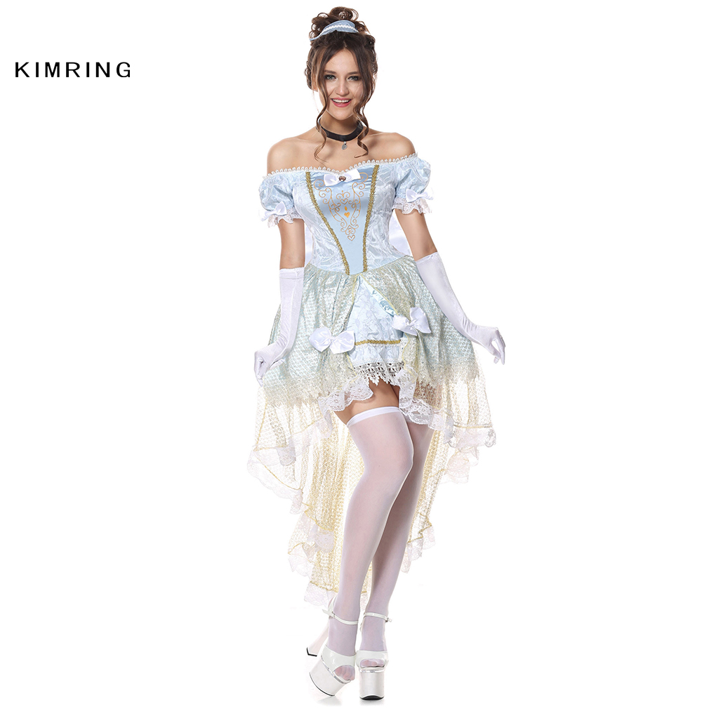 kimring sexy princess halloween costume cinderella cosplay brocade fancy dress fantasia halloween masquerade adult costume - Masquerade Costumes Halloween