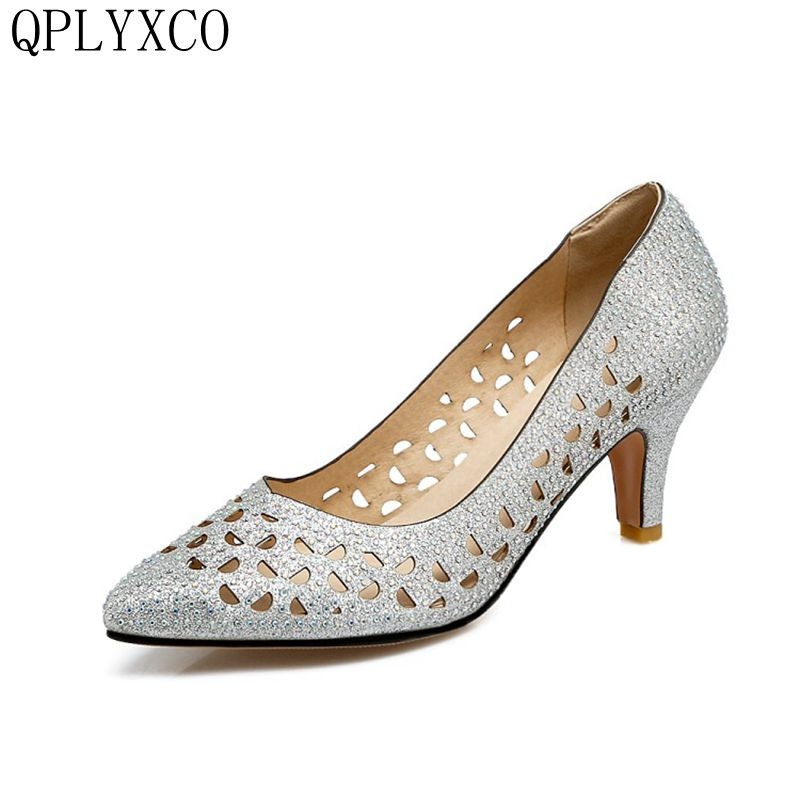 QPLYXCO 2017 New Sale Big& small size 31-48 Women's Pumps pointed Toe heel shoes Elegant wedding Party shoes Y-49 qplyxco 2017 sale big
