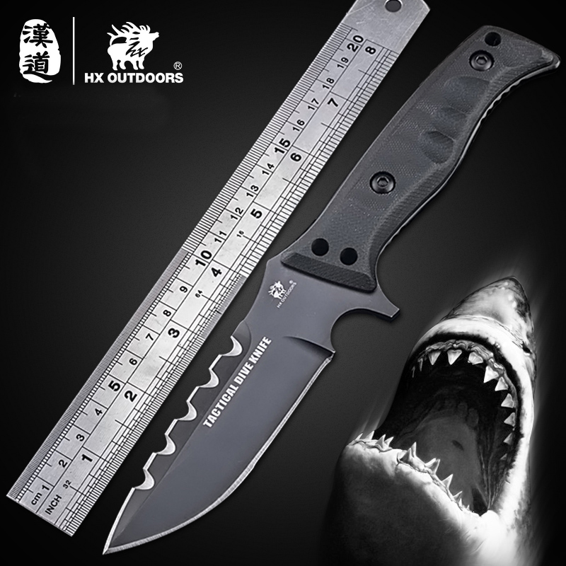 HX OUTDOORS D2 Tactical Fixed Blade Knife Camping Outdoor Knife With Sheath G10 Handle Hunting Defense Multi EDC Knives Tools quality tactical folding knife d2 blade g10 steel handle ball bearing flipper camping survival knife pocket knife tools