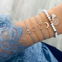 WNGMNGL New 6pcs Heart Stone Tassel Moon Bracelets Set Drop Bracelets&Gold Bangle For Women Charm Statement 2019 Fashion Jewelry