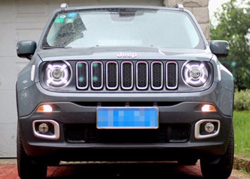 Pair For 2015-2017 Jeep Renegade HID Headlight with DRL and Bi-xenon Projector For Jeep Renegade BU HID H4 Head Lamp Headlights (4)