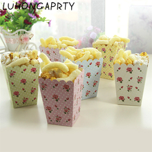 24pcs Romantic Rose Popcorn Box Blue pink 6color thickening holders Birthday Party Ball Event Decoration Theme Festival