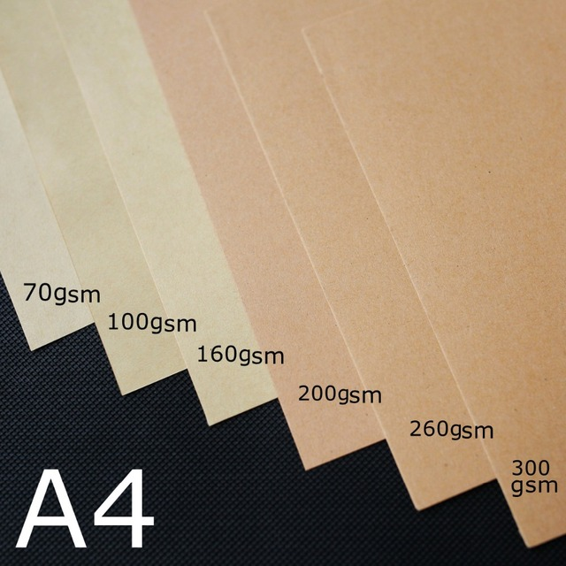 US $5 6 30% OFF|A4 Brown Kraft Paper DIY Handmake Card Making Craft Paper  Thick Paperboard Cardboard 70 260gsm 10/20/50pcs High Quality -in Craft