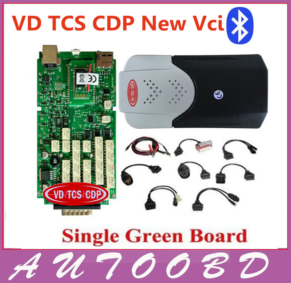 Single Board PCB obd2 Interface OBDII Diagnostics VD TCS CDP Bluetooth+USB Cable+Full 8car cables for car and Truck Generic 3in1 5 psc lot diagnostic tool connect cable adapter for tcs cdp plus pro obd2 obdii truck full 8 trucks cables for cdp by dhl free